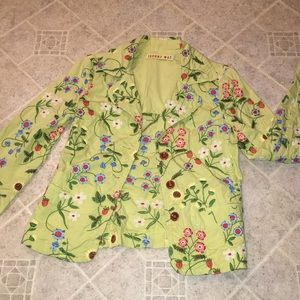 Johnny Was yellow floral embroidered blazer